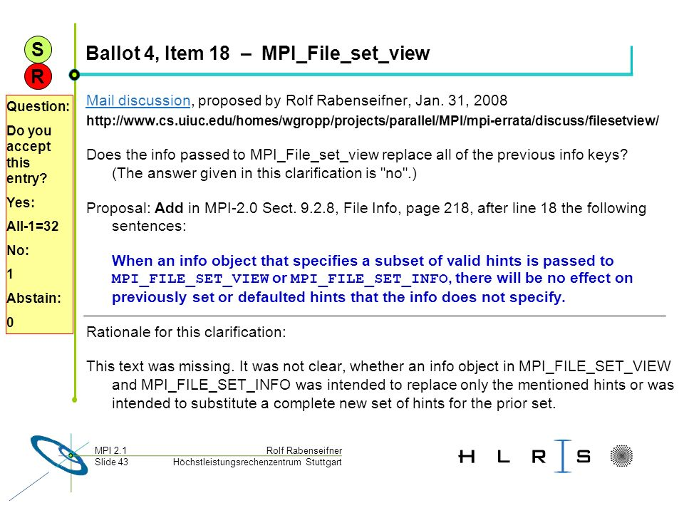 Ballot 4, Item 18 – MPI_File_set_view
