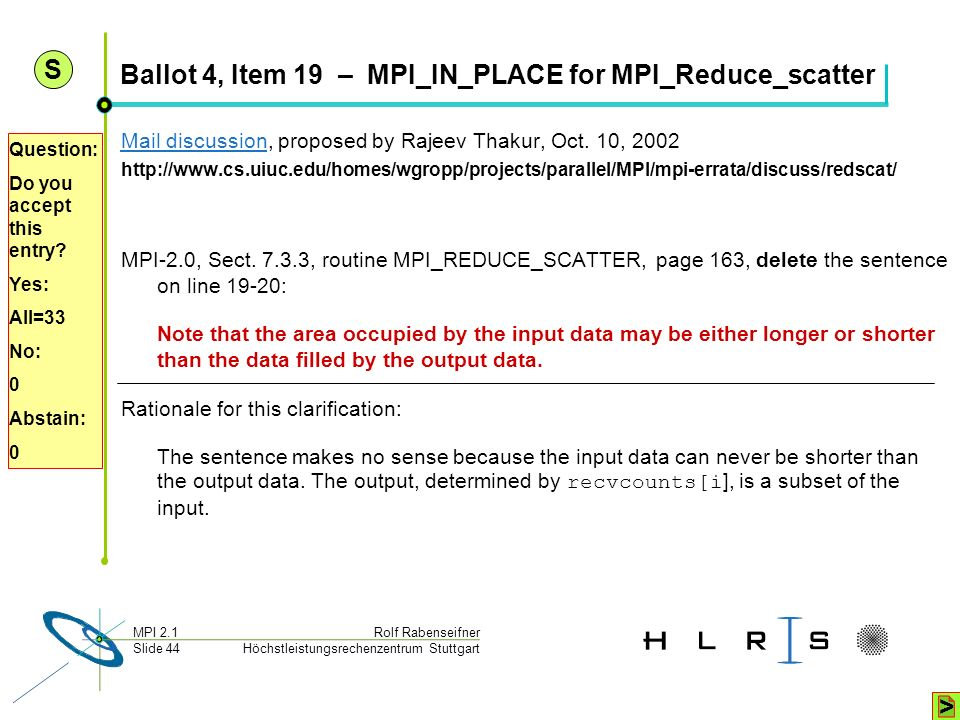 Ballot 4, Item 19 – MPI_IN_PLACE for MPI_Reduce_scatter
