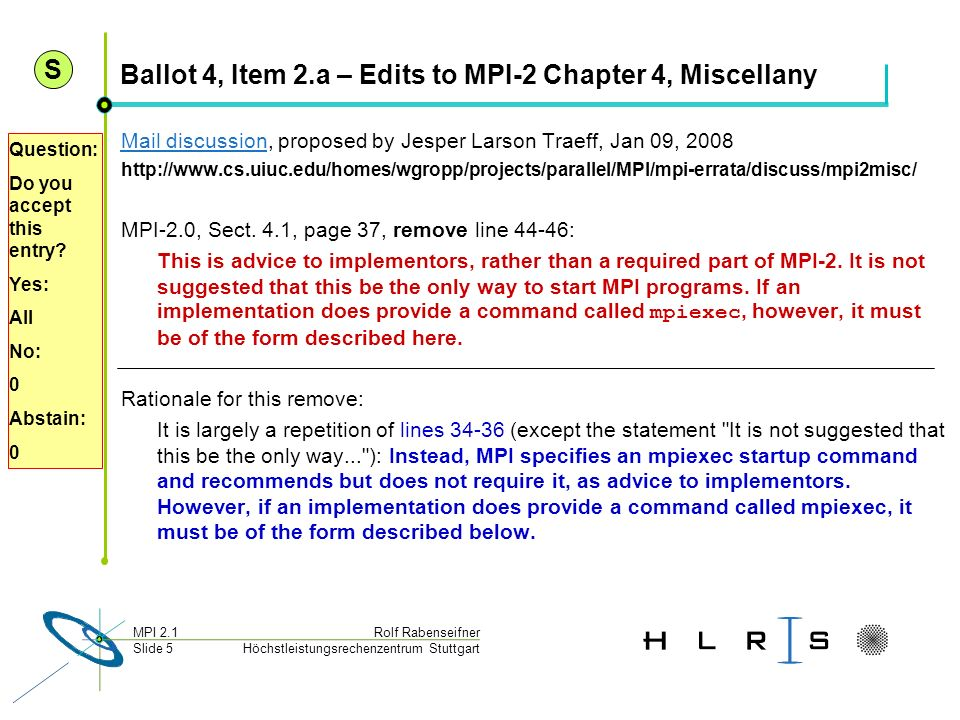 Ballot 4, Item 2.a – Edits to MPI-2 Chapter 4, Miscellany