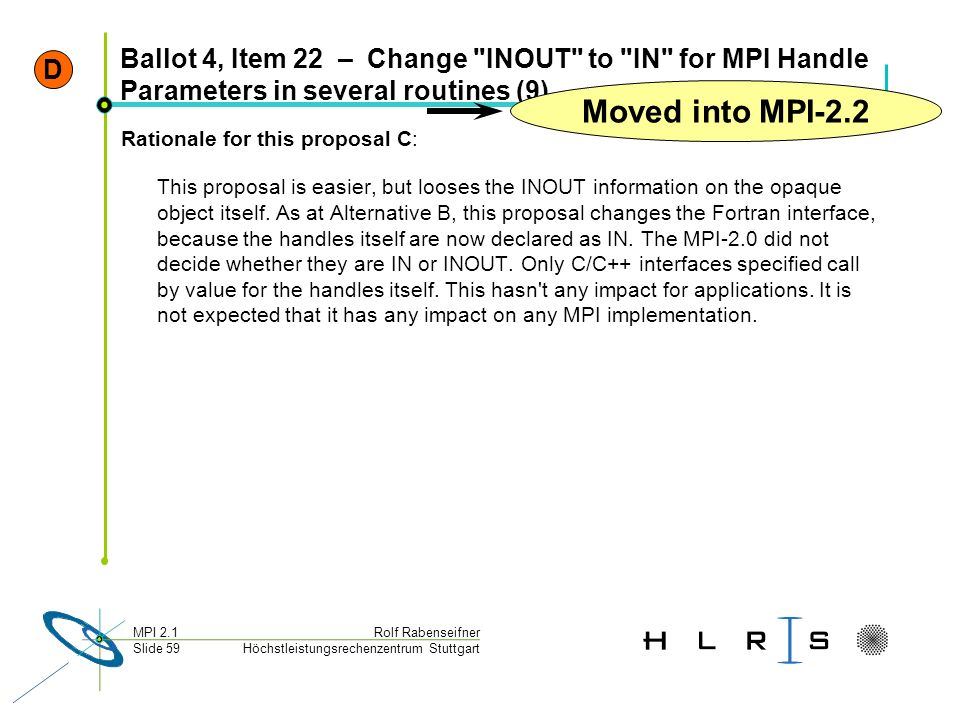 D Ballot 4, Item 22 – Change INOUT to IN for MPI Handle Parameters in several routines (9) Moved into MPI-2.2.