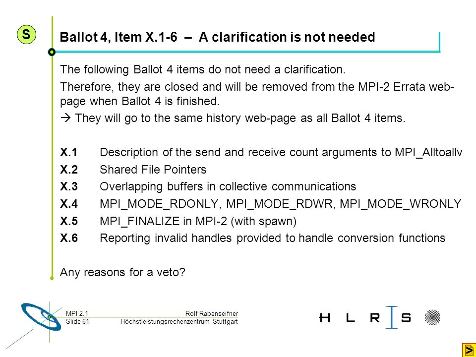 Ballot 4, Item X.1-6 – A clarification is not needed