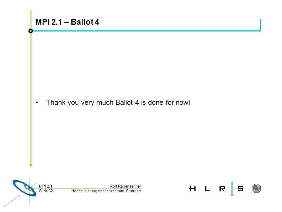 MPI 2.1 – Ballot 4 Thank you very much Ballot 4 is done for now!