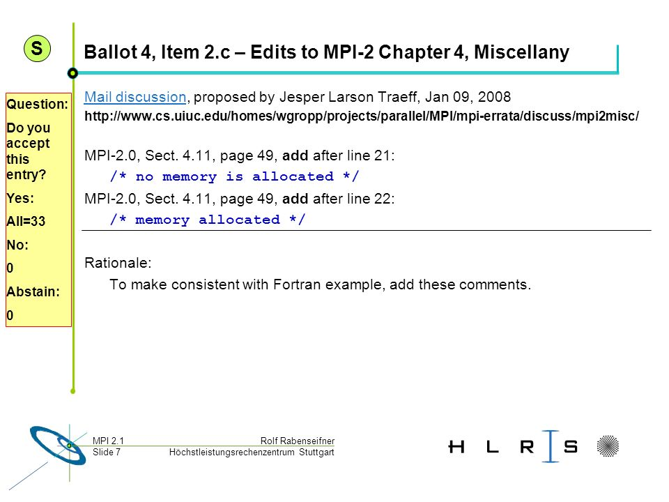 Ballot 4, Item 2.c – Edits to MPI-2 Chapter 4, Miscellany