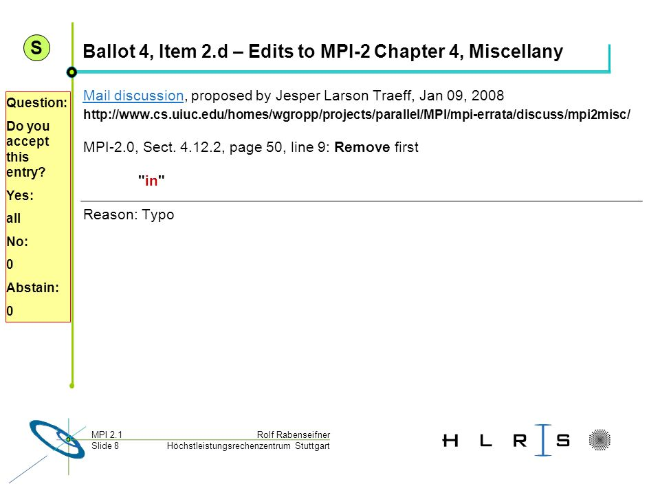 Ballot 4, Item 2.d – Edits to MPI-2 Chapter 4, Miscellany