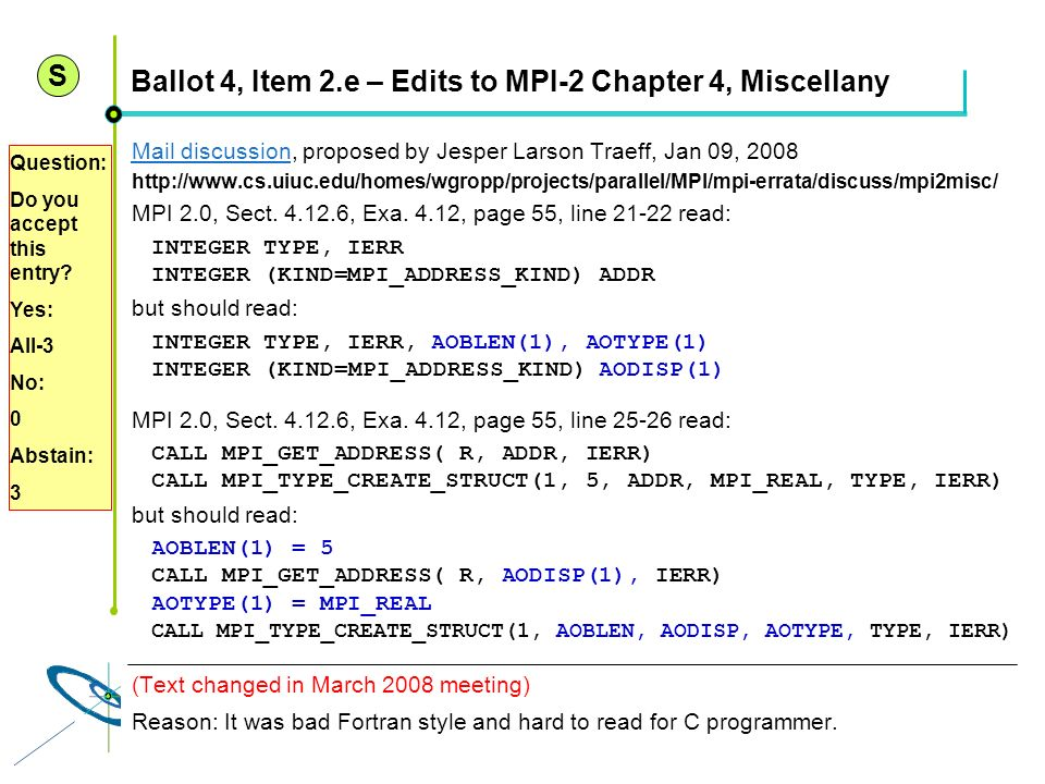 Ballot 4, Item 2.e – Edits to MPI-2 Chapter 4, Miscellany