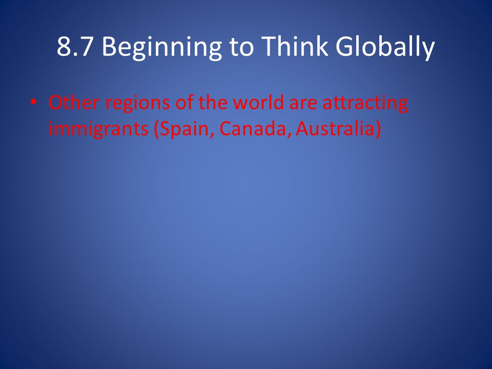 8.7 Beginning to Think Globally