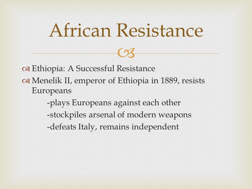 African Resistance Ethiopia: A Successful Resistance