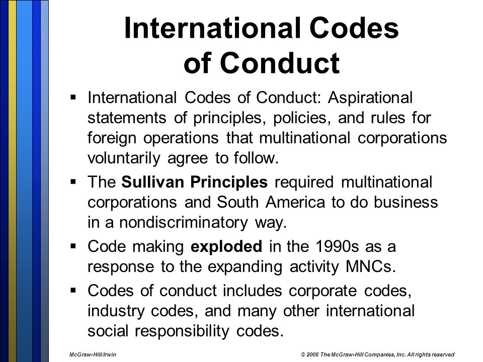 global sullivan principles ethics The preamble the objectives of the global sullivan principles are to support economic, social and political justice by companies where they do business to support human rights and to encourage equal opportunity at all levels of employment, including racial and gender diversity on decision making committees and boards to train and advance disadvantaged workers for technical, supervisory and .