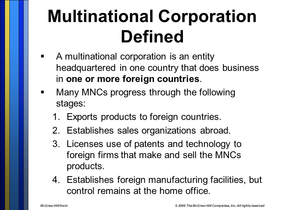 Development Stages of a Transnational Corporation