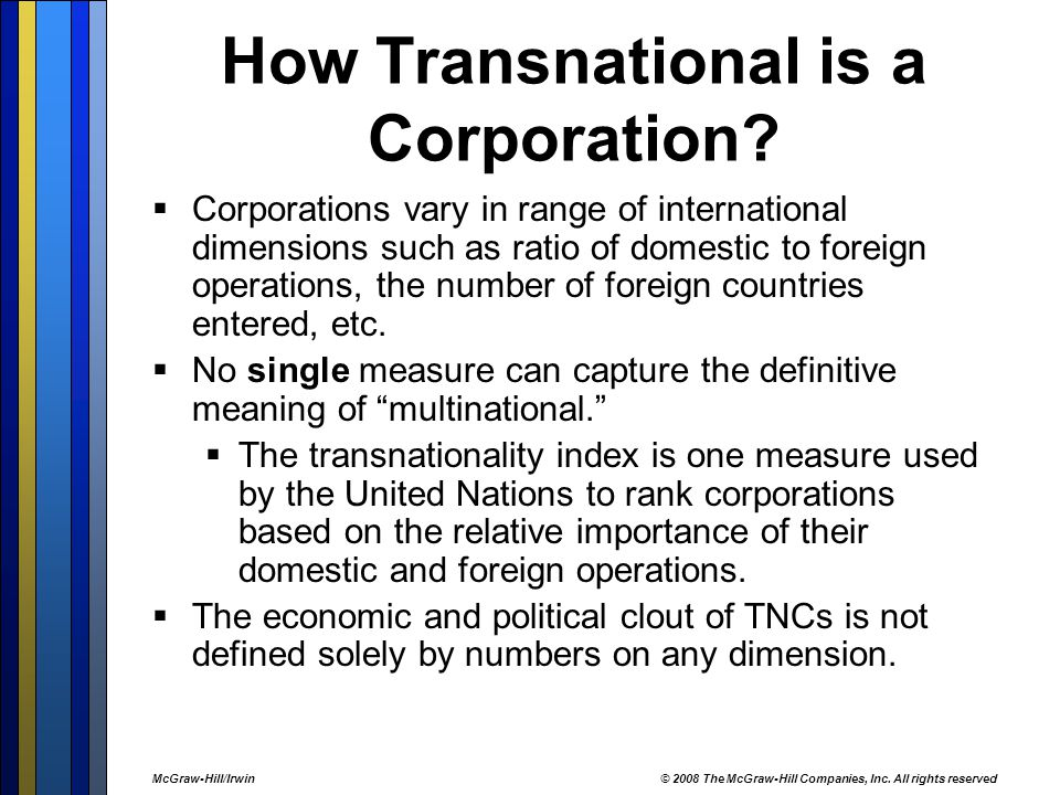 importance of multinational corporations Published: mon, 5 dec 2016 nowadays multinational corporations are more and more widespread, but a problem that they still don't have accomplished is how to have successful employees, and most importantly how to train their employees in order to make them a useful and successful resources of their enterprises.