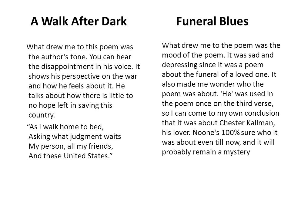 funeral blues an explication Comments & analysis: stop all the clocks, cut off the telephone, / prevent the dog from barking with a juicy bo.