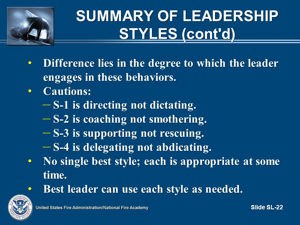 a overview of leadership style For that reason, great leaders choose their leadership style like a golfer chooses his or her club, with a calculated analysis of the matter at hand,.