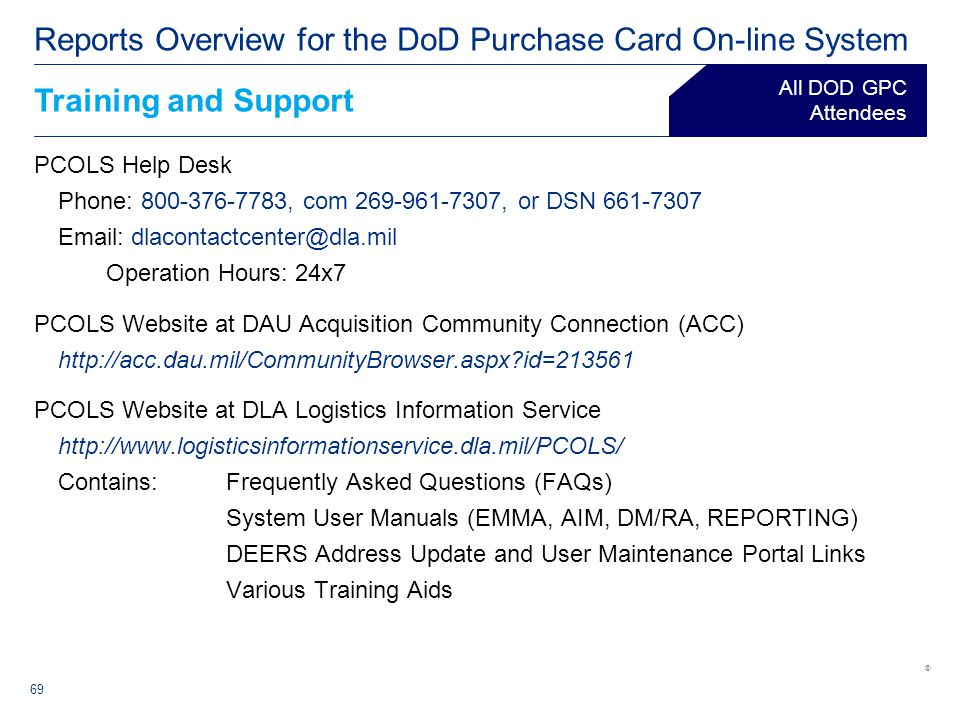 Reports Overview For The Dod Purchase Card On Line System