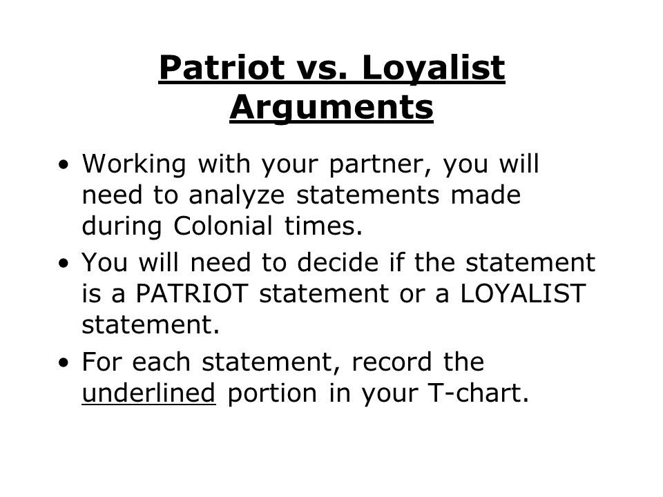 loyalist vs patriot essay Loyalist or patriot - politics essay example argumentative essay loyalist or patriot background: various events of the 1700s led.
