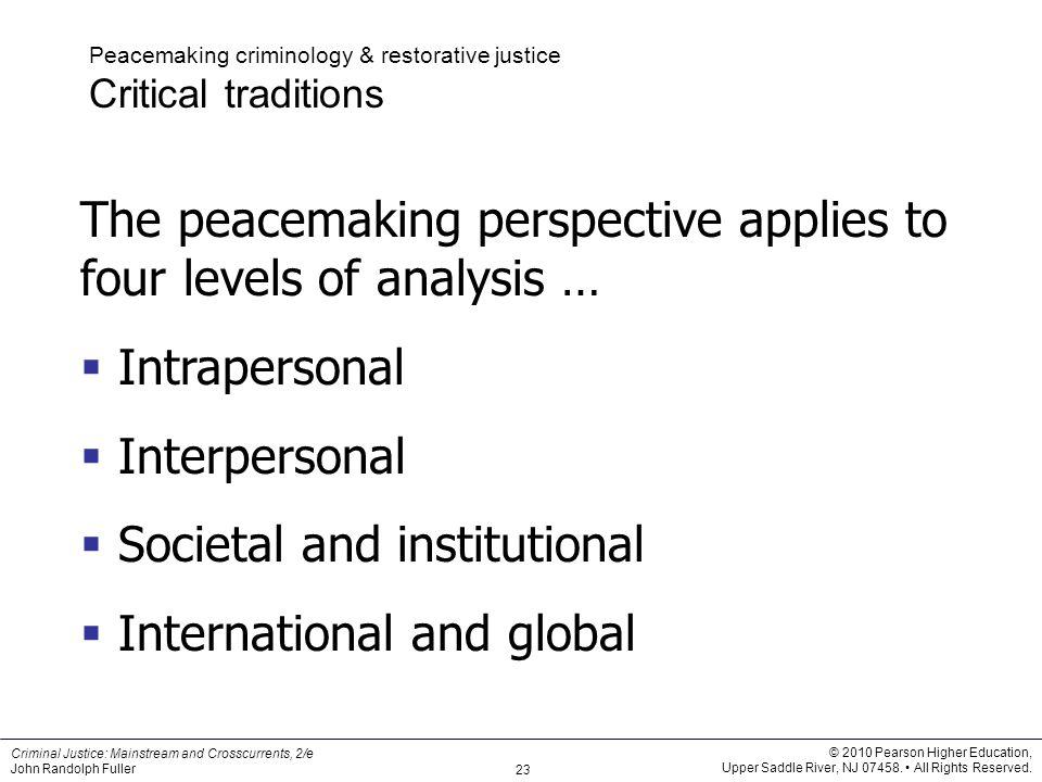 peacemaking criminology Reintegrative shaming constitutive criminology peacemaking  of both  constitutive and peacemaking criminology [3–7], which aim to alter our.