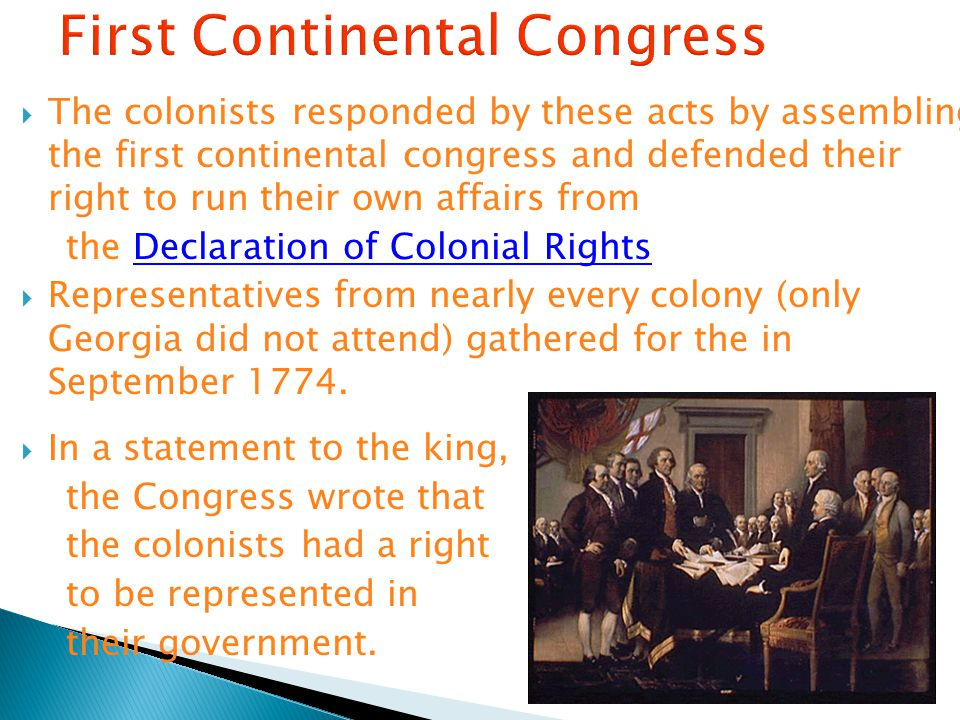 first continental congress essay Official records of the original colonies and the early united states the first continental congress (1774) addressed intolerable acts by the british the second continental congress.
