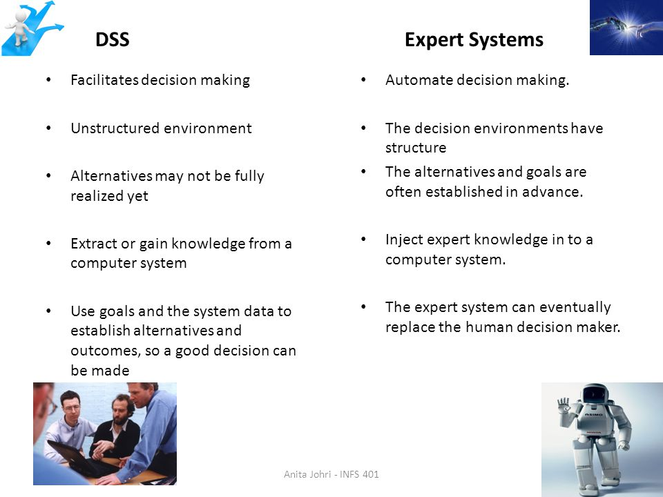 DSS Expert Systems Facilitates decision making