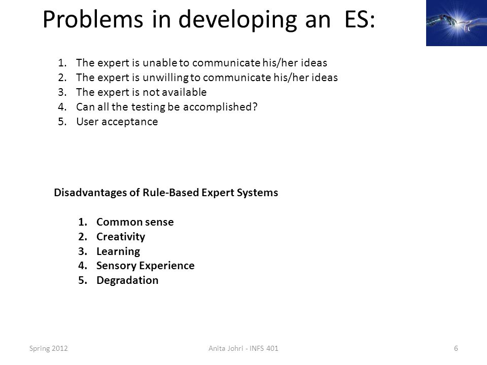 Problems in developing an ES: