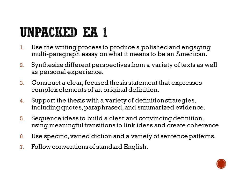 english lesson objectives ppt video online unpacked ea 1 use the writing process to produce a polished and engaging multi paragraph
