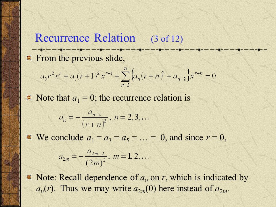 how to find recurrence relation from differential equation