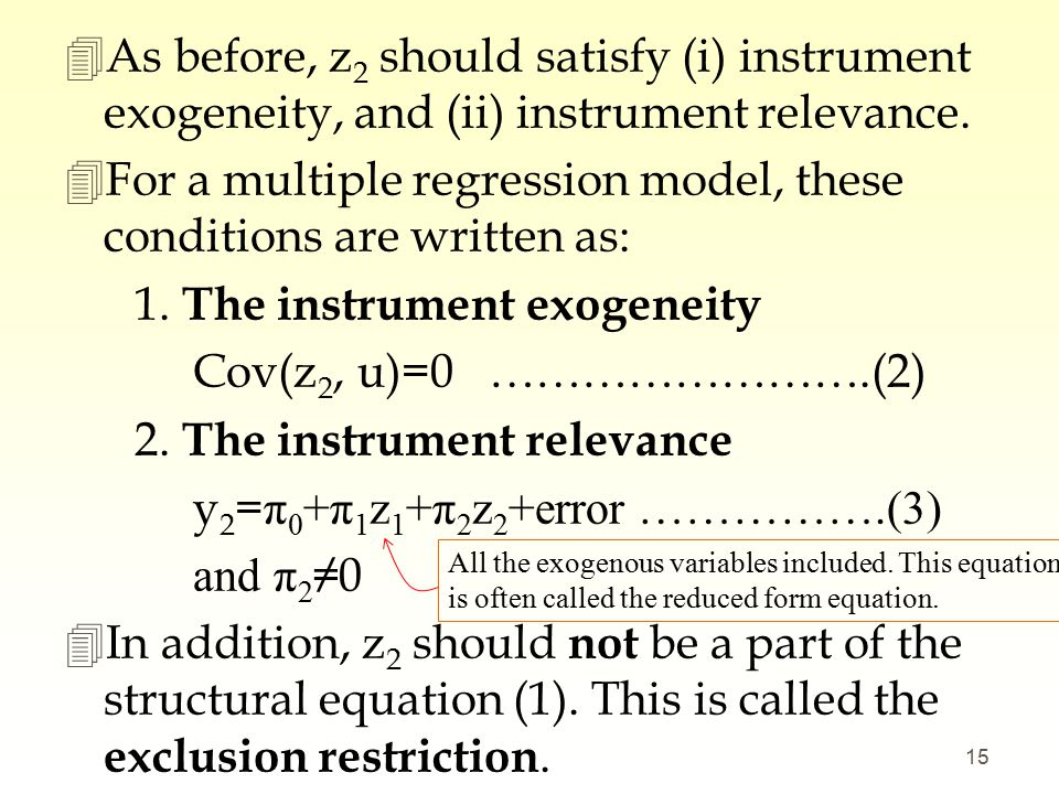 Instrumental Variables Estimation and Two Stage Least Square - ppt ...