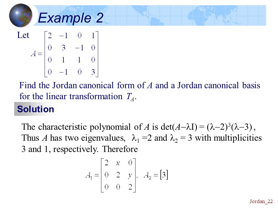 Linear Algebra Canonical Forms 資料來源: Friedberg, Insel, and ...