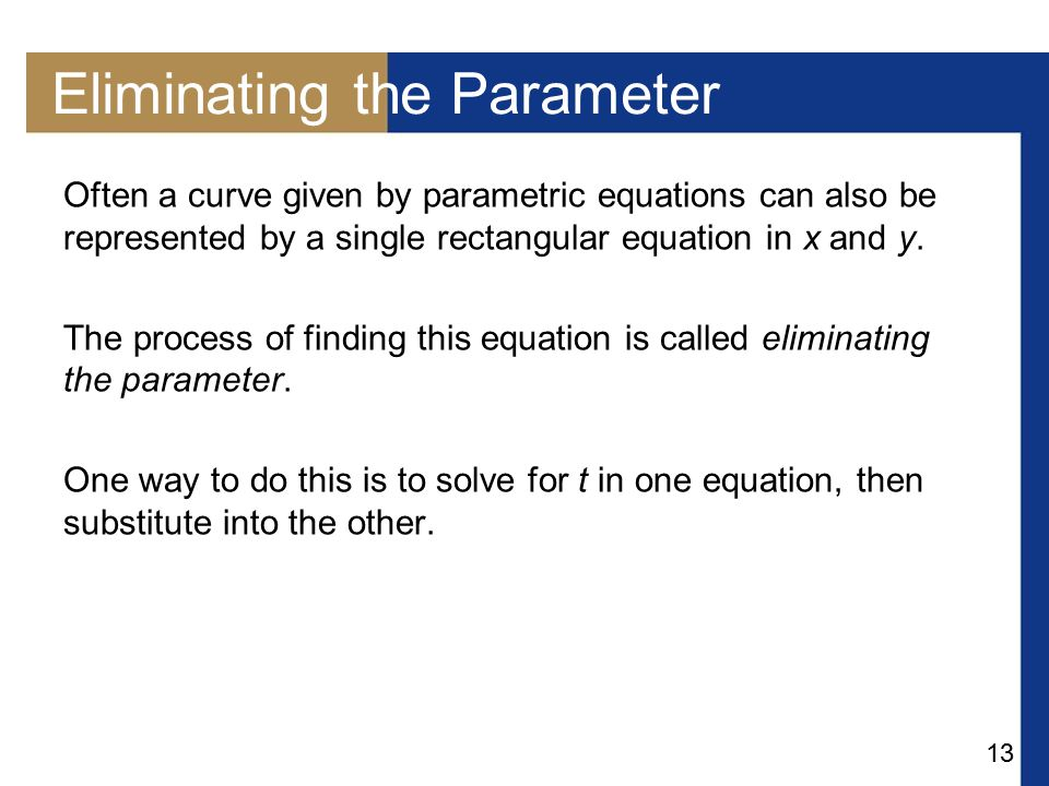 Eliminating the Parameter
