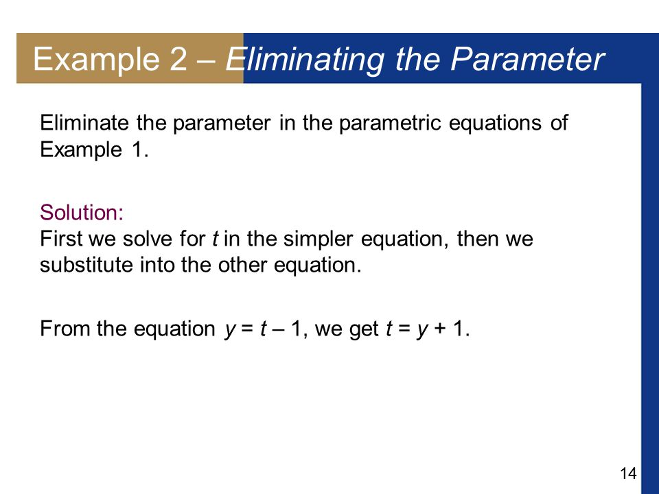 Example 2 – Eliminating the Parameter