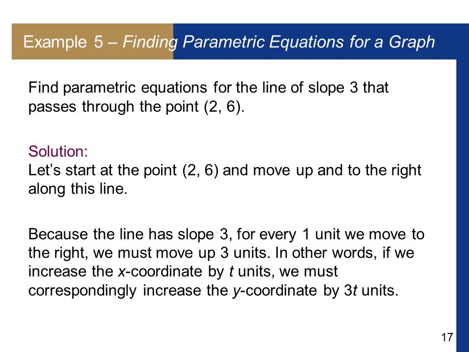 Example 5 – Finding Parametric Equations for a Graph