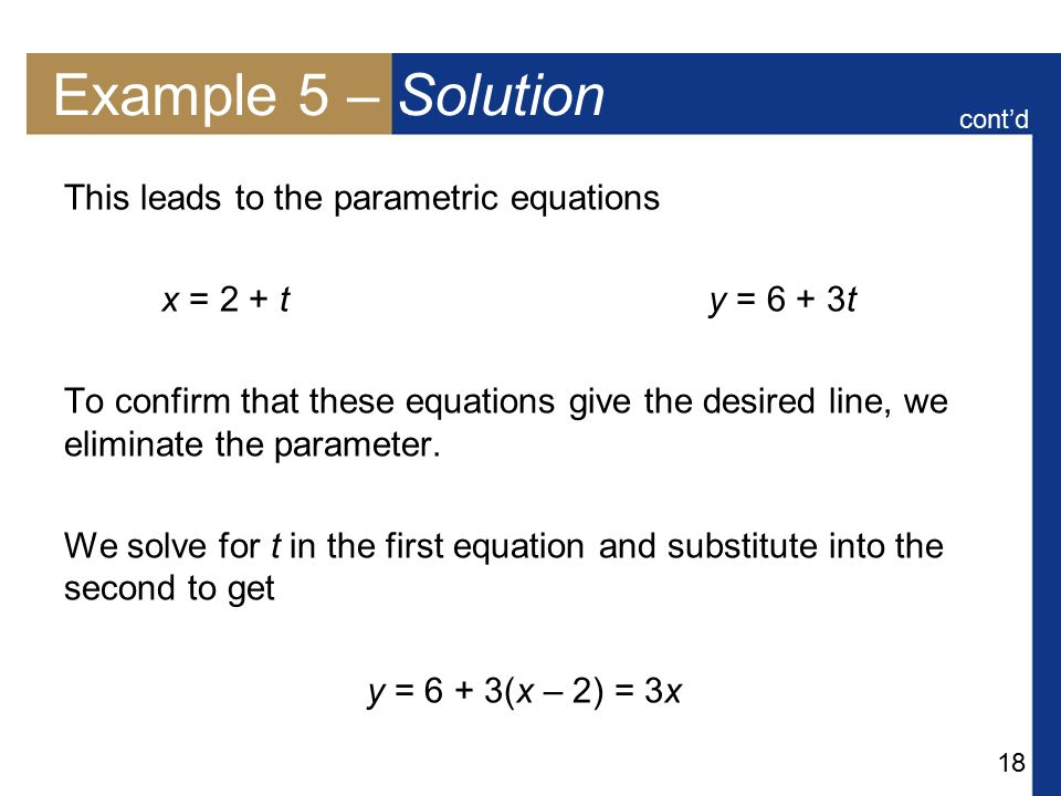 Example 5 – Solution This leads to the parametric equations