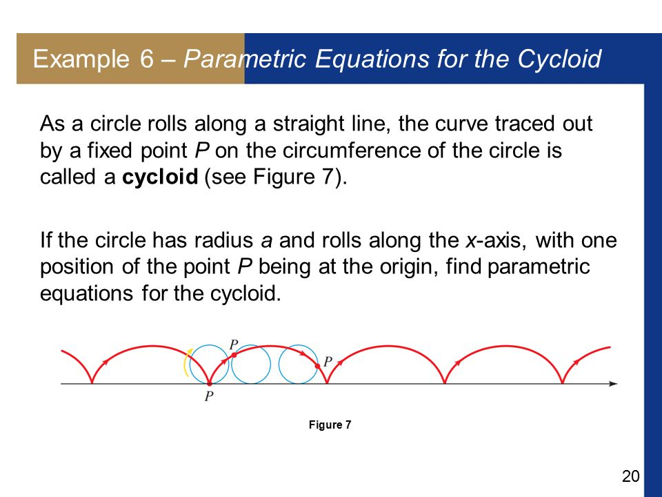 Example 6 – Parametric Equations for the Cycloid
