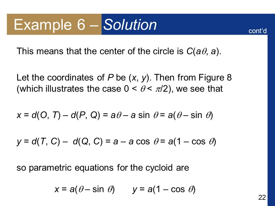 Example 6 – Solution cont'd. This means that the center of the circle is C(a, a).