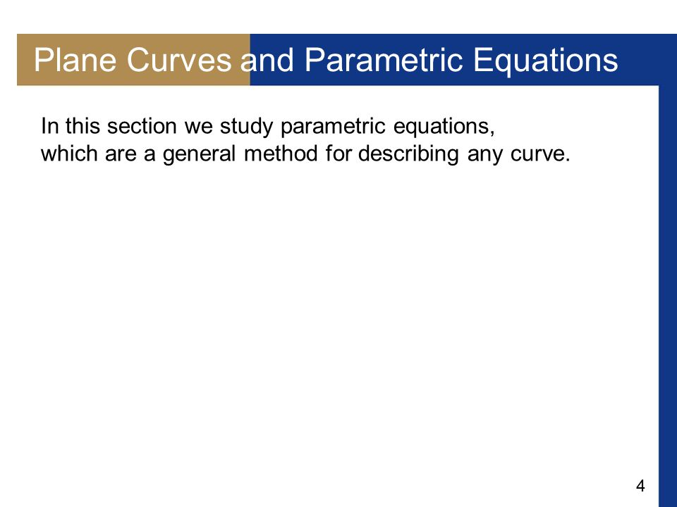 Plane Curves and Parametric Equations