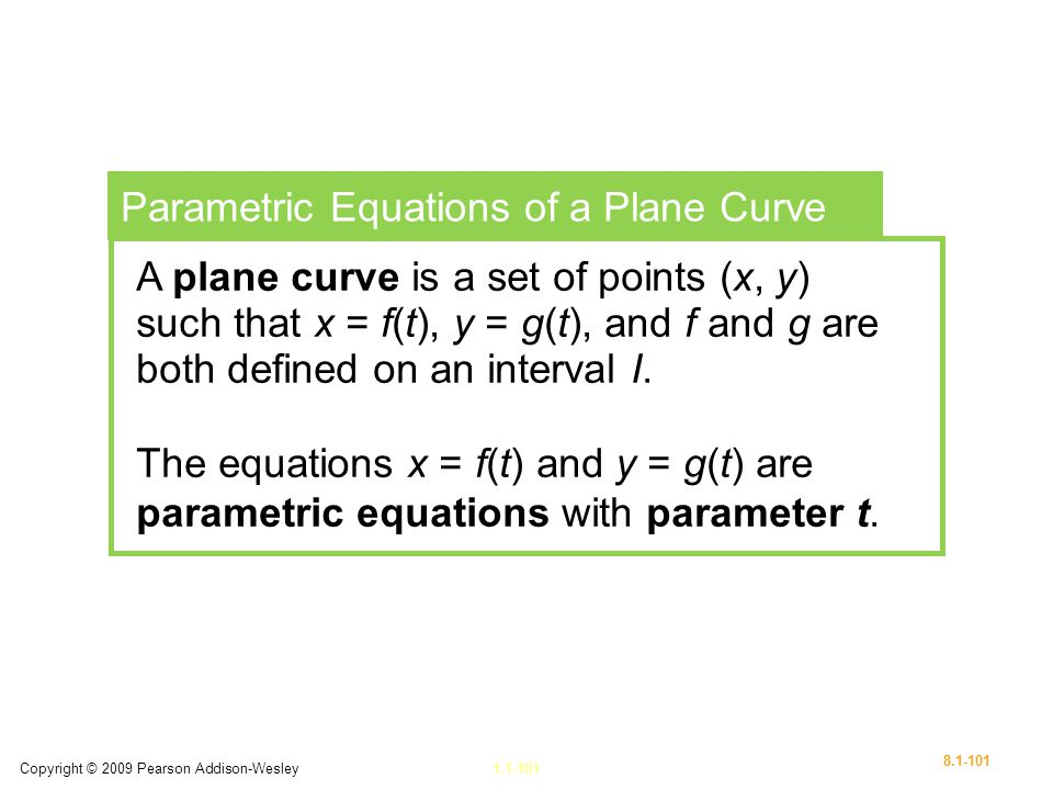 Parametric Equations of a Plane Curve