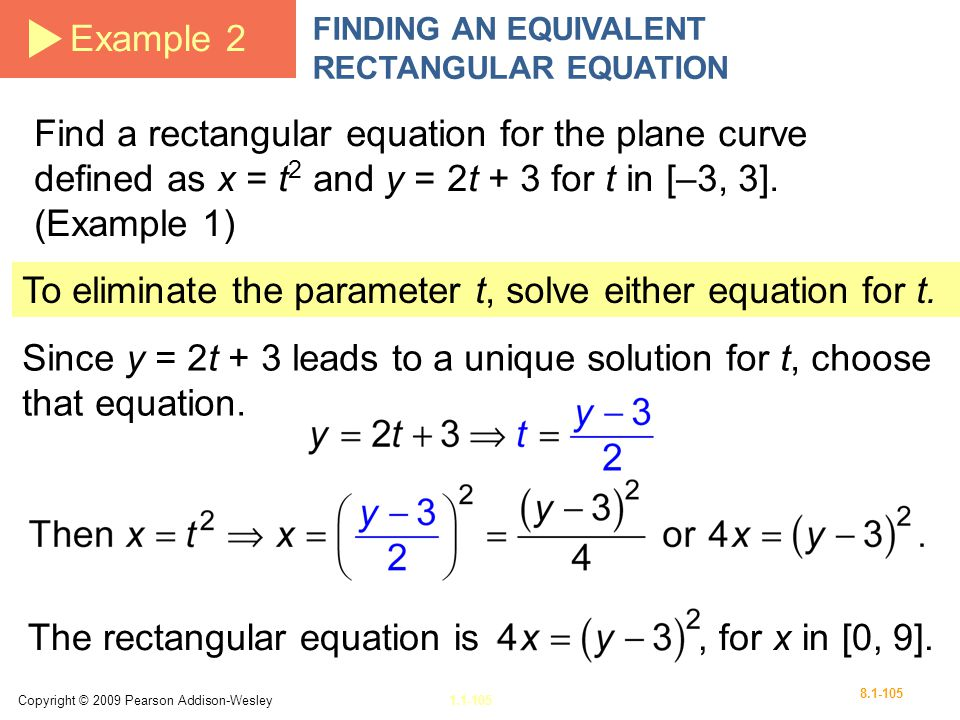 To eliminate the parameter t, solve either equation for t.