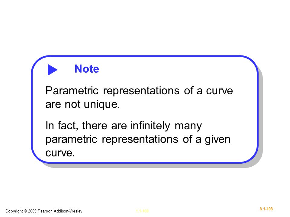 Parametric representations of a curve are not unique.