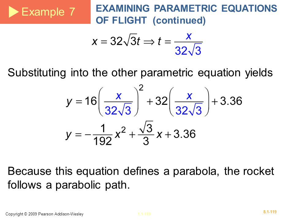 Substituting into the other parametric equation yields