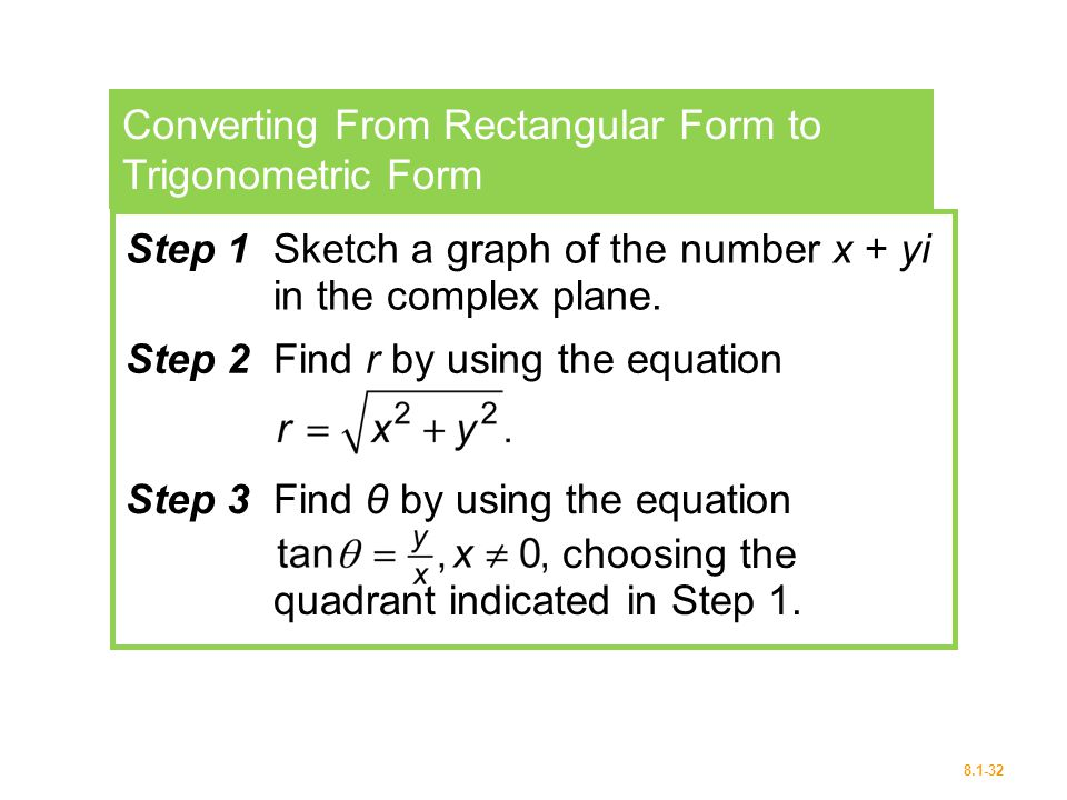 Converting From Rectangular Form to Trigonometric Form