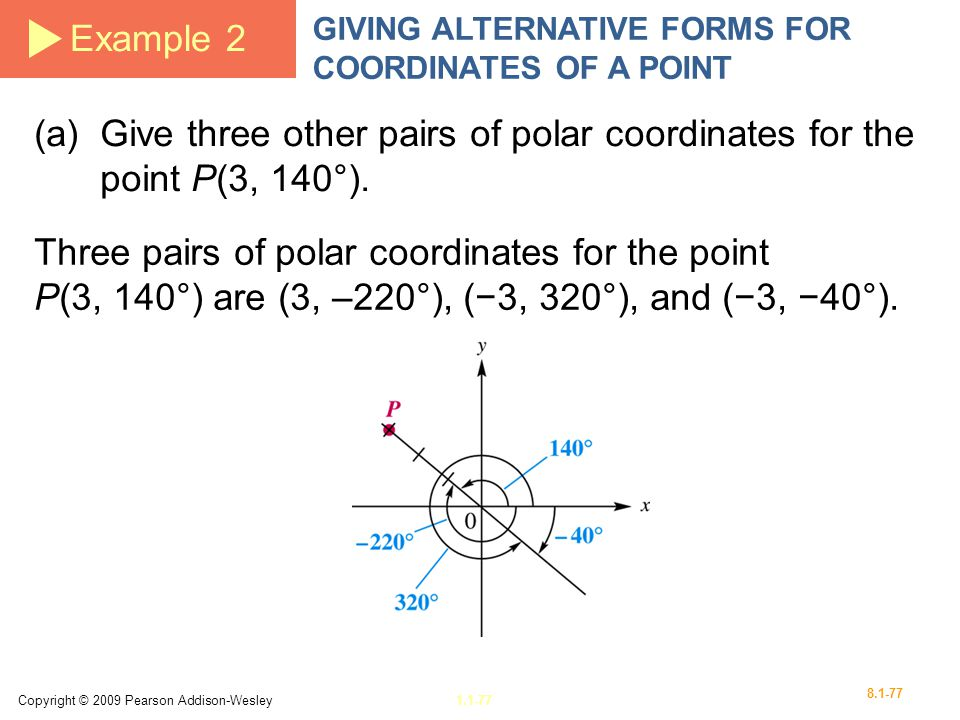 Example 2 GIVING ALTERNATIVE FORMS FOR COORDINATES OF A POINT. (a) Give three other pairs of polar coordinates for the point P(3, 140°).