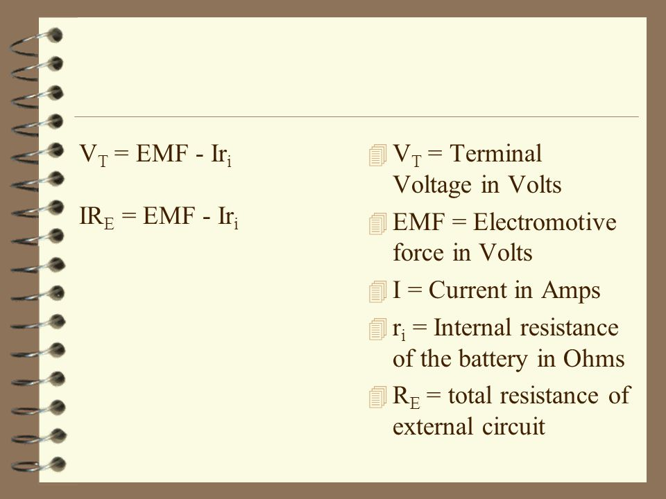 VT = EMF - Iri IRE = EMF - Iri. VT = Terminal Voltage in Volts. EMF = Electromotive force in Volts.