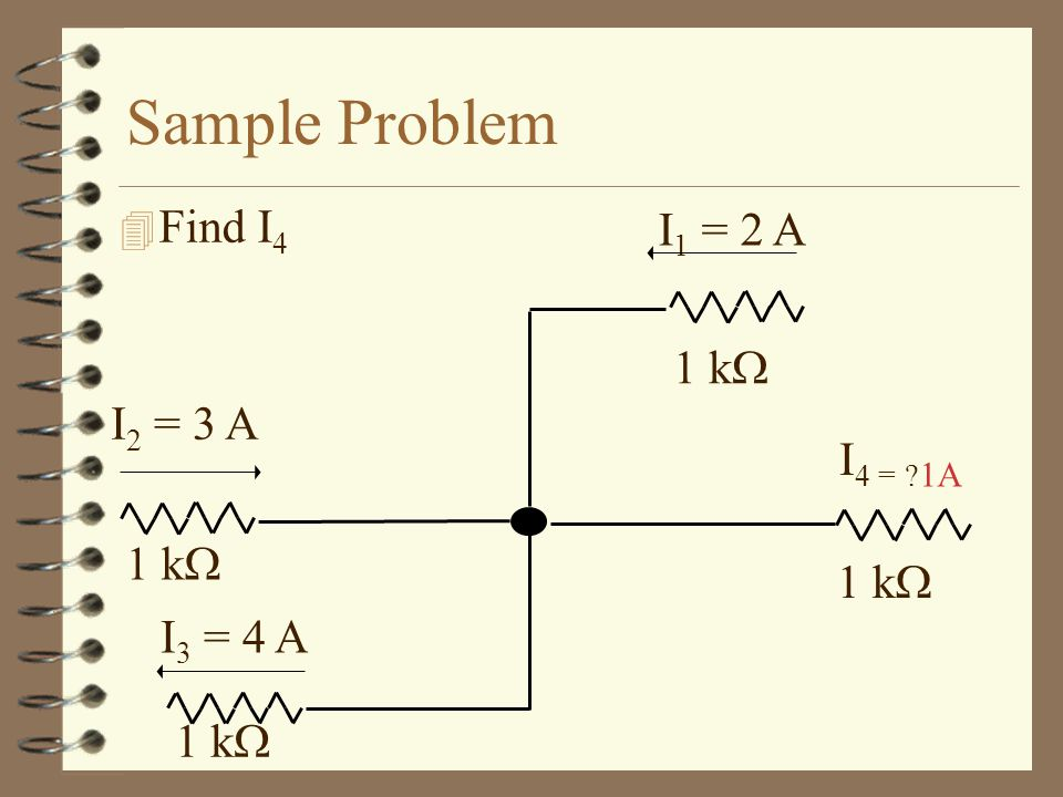 Sample Problem Find I4 I3 = 4 A 1 k I2 = 3 A I1 = 2 A I4 = 1A