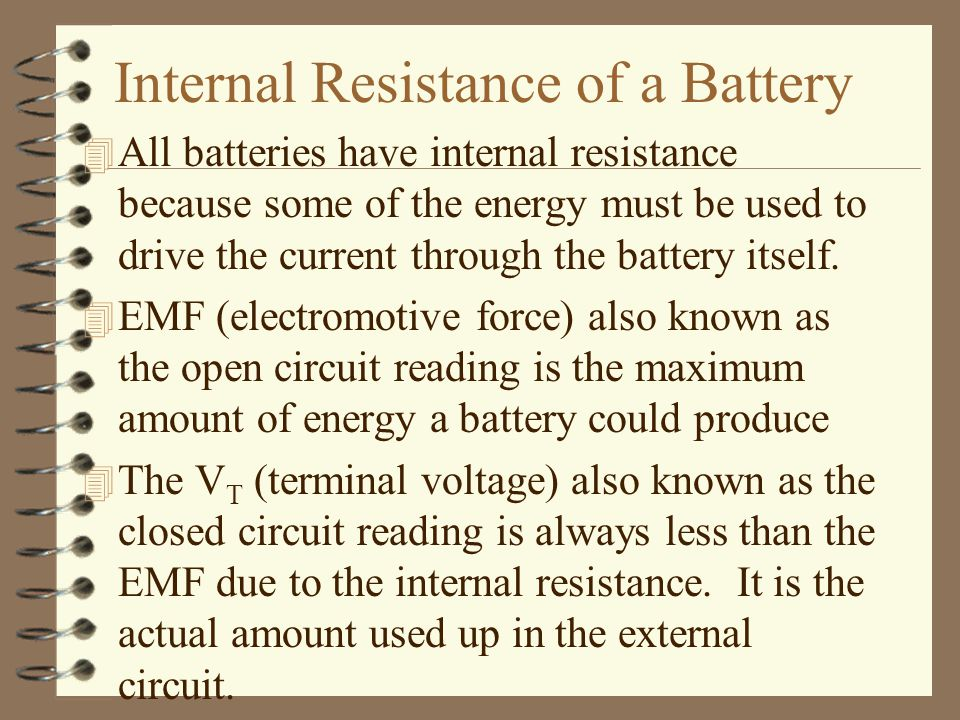 Internal Resistance of a Battery