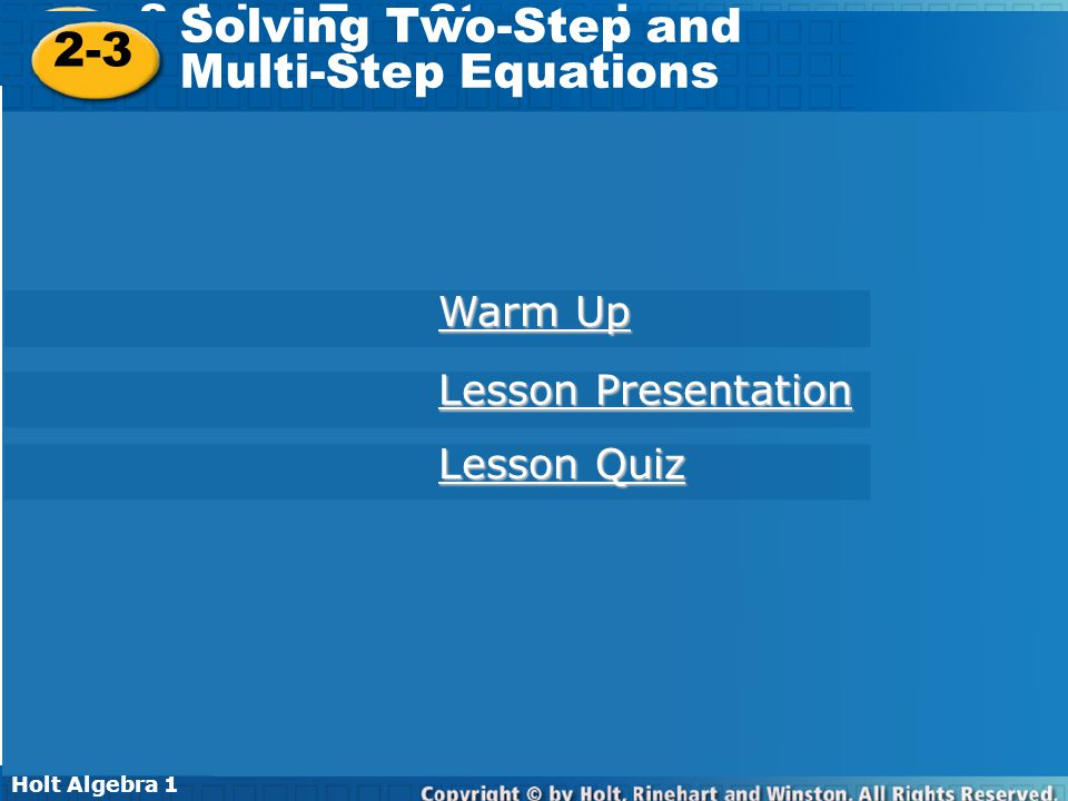 Solving Two-Step and 2-3 Multi-Step Equations Warm Up - ppt video ...