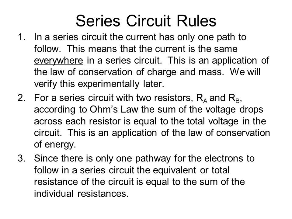 series circuit resistance voltage and current relationship