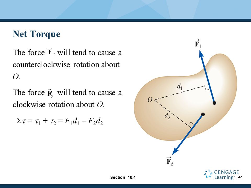 Net Torque The force will tend to cause a counterclockwise rotation about O. The force will tend to cause a clockwise rotation about O.