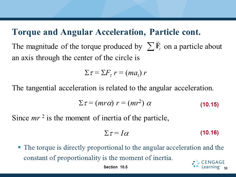Torque and Angular Acceleration, Particle cont.