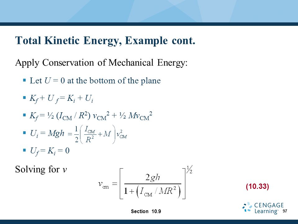 Total Kinetic Energy, Example cont.