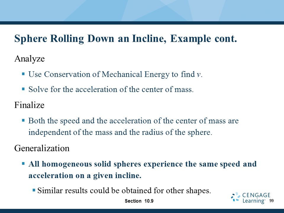 Sphere Rolling Down an Incline, Example cont.