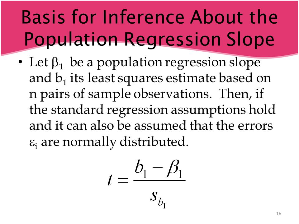 Basis for Inference About the Population Regression Slope