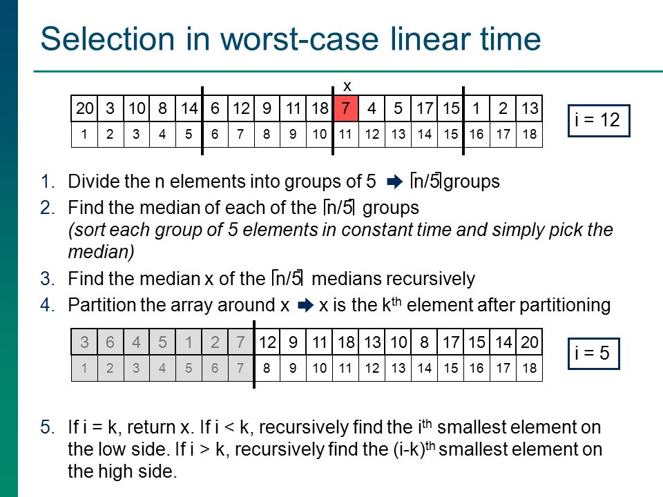 Selection in worst-case linear time